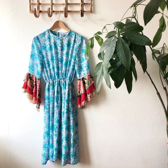 Vintage 1950's Floral Midi Dress with Ruffle Angel