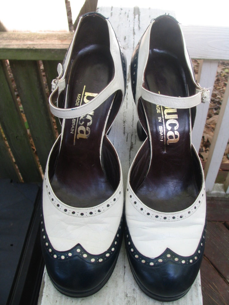 fc9971fb96ebc Vintage 60's 70's Two Tone 2-Tone Platform Navy and White Spectator Mary  Jane Buckle Shoes Made in Spain Size 7