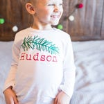 Pine Branch Christmas Shirt for Kids - Christmas Shirt for Boys - Woodland Christmas - Christmas Photos Outfit - Hipster Christmas Shirt