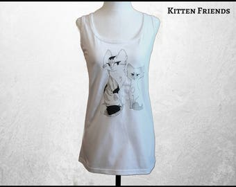 Cat Tank Top, Women's Cat Clothing, Girl's Yoga Clothes, Anime Cat Shirt, Free Shipping