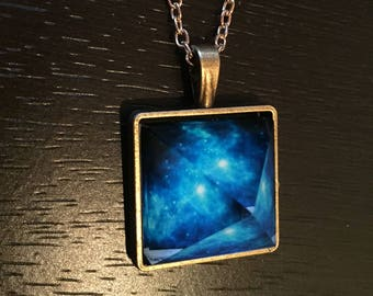Galaxy Necklace, glow in the dark galaxy necklace, space necklace, galaxy stars necklace, galaxy prism necklace, galaxy jewelry
