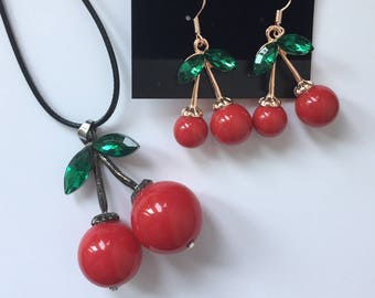 Cherry Necklace, Cherry Jewelry,  dangle cherry earrings, double cherry necklace, double cherry earrings, cherry earrings