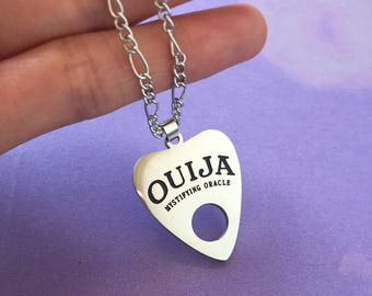 Ouija planchette necklace, Ouija necklace, planchette necklace, ouija choker, planchette choker, planchette keychain, goth necklace