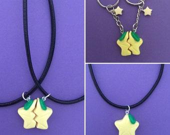 Kingdom Hearts Paopu Fruit - paopu necklace, split paopu friendship key chain or necklace