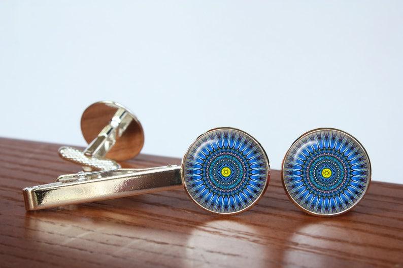 inspiration mandala cuff links Mandala/'s pair of cufflinks gift for dad Tie clip Personalized Men Wedding Jewelry