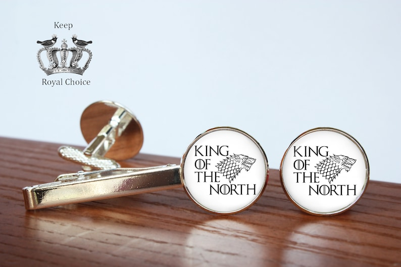 King of the North pair of cufflinks gift for dad Tie clip Personalized Men Wedding Jewelry House Stark inspired cuff links