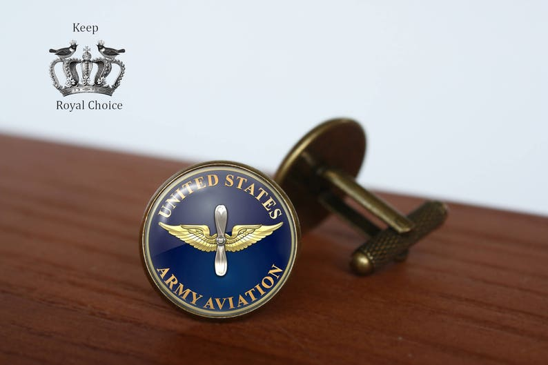 Army Aviation emblem pair of cufflinks pilot cuff link Personalized Men Wedding Jewelry gift for dad Military cuff links Tie clip