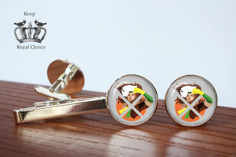 Rogue x-men inspired cuff links Personalized Men Wedding Jewelry Tie clip gift for dad Super hero pair of cufflinks