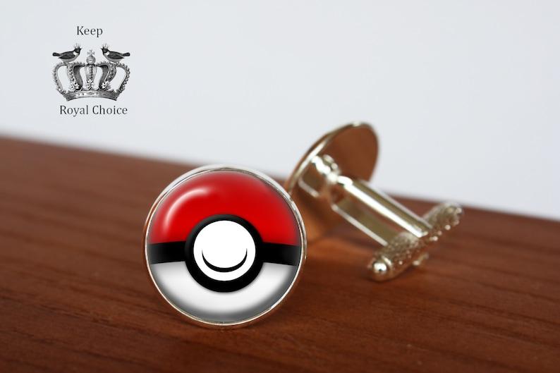 d952e1716ca1 Pokemon pair of cufflinks Pokeball cuff links Tie clip | Etsy