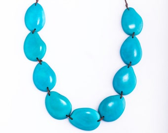 Adjustable Sky Blue Tagua Nut Jewelry Organic Eco-friendly Long Short Upscale Casual Modern Tropical Necklace for Woman