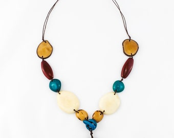 Long White Blue & Brown Tagua Nut Jewelry Organic Eco-friendly Upscale Casual Modern Tropical Tagua Necklace for Woman Teen Gifts For Her