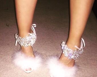 Angelique White Feather Heels