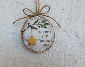 Baby's 1st Christmas, Baby's First Christmas Ornament, Star Ornament, Personalized Ornament, Wood Slice, Christmas Gift, Baby Shower Gift