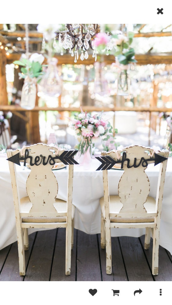 Custom Wedding Chair Signs Decoration His And Hers Arrows Etsy