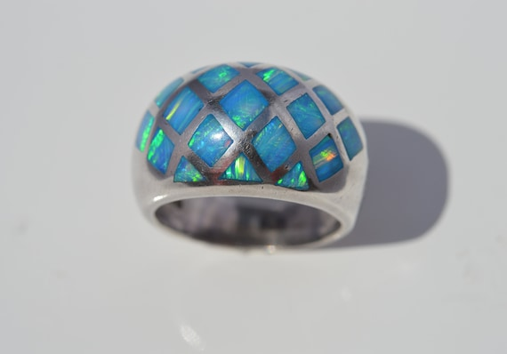 Blue opal ring, silver inlay blue opal ring, domed