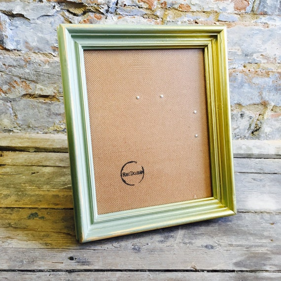 Sage Green Gold Spray Paint Picture Frame Shabby Chic Style Rustic
