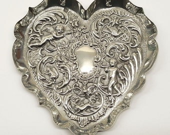 Solid silver heart shaped tray, Victorian. Repoussé cupid cherub hare owl squirrel dove detail. Antique pin coin jewelry dish. Ideal gift