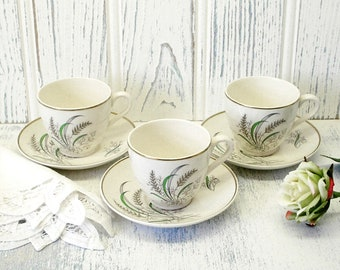 Vintage Copeland Spode Oklahoma coffee cups & saucers x 3, designed by Harold Holdway, demitasse espresso cups and saucers, 1940's to 50's