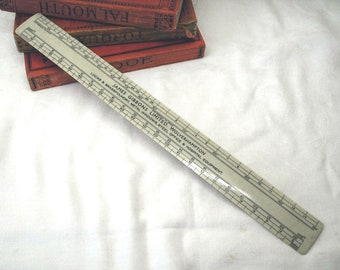 Vintage scale rule advertising James Gibbons Limited, Wolverhampton. 12 inch scale ruler. Engineering tool measure. 1950s 1960s collectible