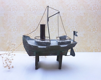 Vintage metal boat on a stand, naive style galvanised steel fishing boat, boat ornament, decorative rustic boat, coastal decor, nautical