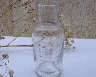 Antique clear glass bottle, Sample of Mellins Food. Victorian baby food bottle, milk substitute baby food jar, Mellin's Infant Food London