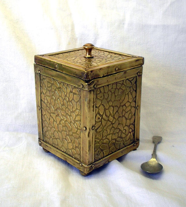 Vintage Messing Teedose Teedose Dose mit Deckel Zinn | Etsy