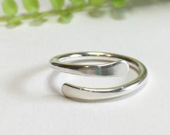 Thumb Ring, Sterling Silver Thumb Ring,  Wrap Ring, Adjustable Ring, Knuckle Ring, Silver Midi Ring, Argentium Silver Ring, Silver Rings