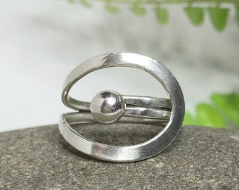 Circle Wrap Ring, Sterling Silver Ball Ring, Adjustable Ring, Argentium Silver Ring, Silver Rings, Open Circle Ring, Harmony Ring