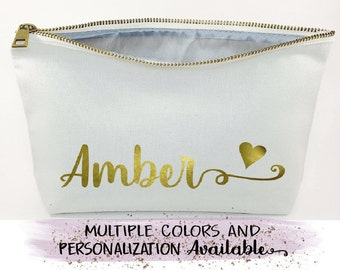 cosmetic bag- bridesmaid gift- Wedding favors - Bridal gift - Zipper pouches, personalized gift,  gold, makeup bag, bridesmaid proposal