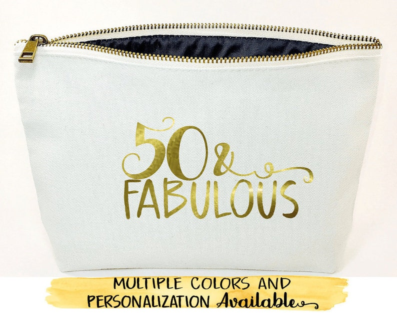 Fifty And Fabulous Personalized Gift Makeup Bag 50th