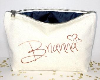 Flower girl gift  Bridesmaid makeup bag Canvas cosmetic bag bridesmaid gift- Wedding favors- Bridal gift - Zipper pouches - Weddings