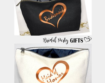 Bridal party  gift  Personalized - Bridesmaid cosmetic bag- bridesmaid gift- Wedding favors- Bridal gift - Zipper pouches - Weddings- Makeup
