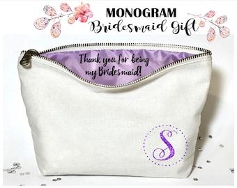 Monogram Personalized Bridesmaid makeup bag- Canvas cosmetic bag- bridesmaid gift- Wedding favors- Bridal gift - Zipper pouches - Weddings