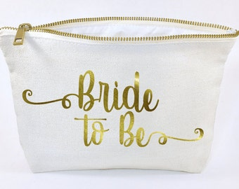 Bride to be gift - makeup bag- Canvas cosmetic bag- bridesmaid gift- Wedding favors- Bridal gift - Zipper pouches - Weddings