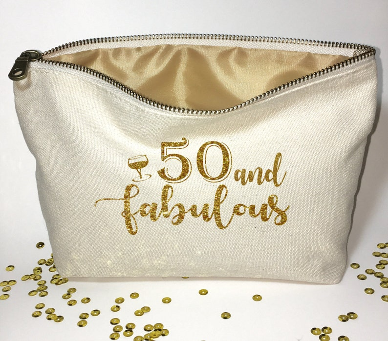 Fifty And Fabulous Personalized Makeup Bag