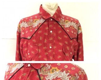 XL Provencal Red Cowboy Cowgirl Western French Vintage Shirt