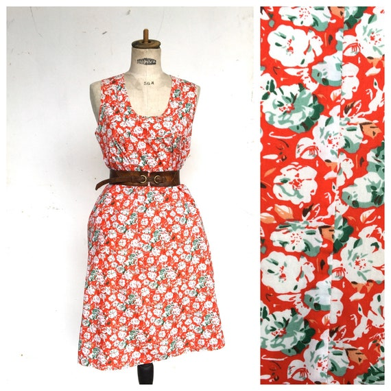Cacharel Red Babydoll French Vintage Liberty Dress