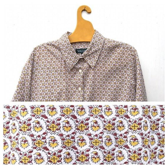 best website 633a2 5852c Camicia Vintage francese Provenza Souleiado marrone e gialla amazzone