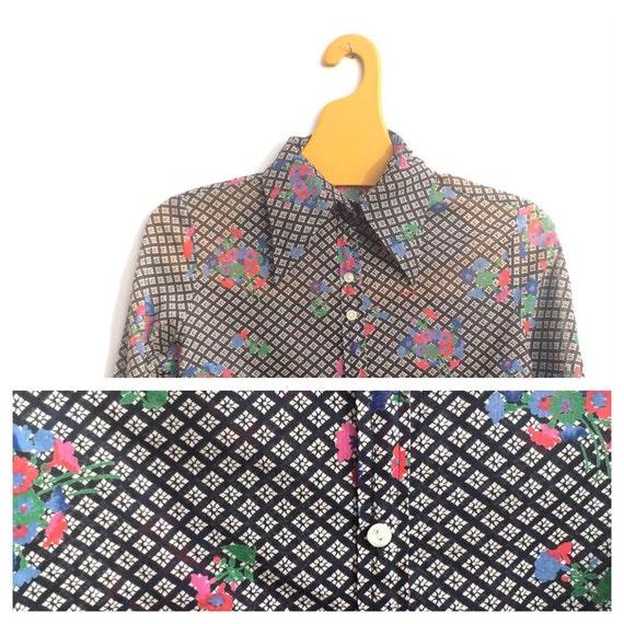 Jeff Banks 1970 Floral Geometric XS XXS Blouse Shi
