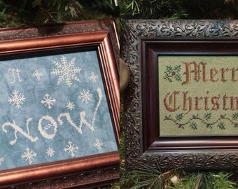 Christmas Combo 2 Cross Stitch Patterns Merry Little Christmas and Let it Snow