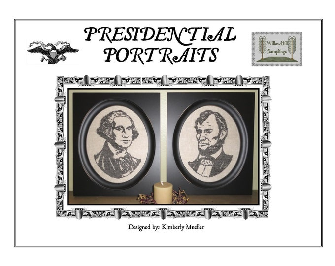 Cross stitch pattern Presidential Portraits - George Washington and Abraham Lincoln - PDF Digital Download