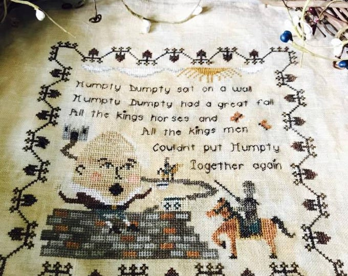 Nursery Rhymes - Humpty Dumpty Cross Stitch Pattern - PDF Digital Download