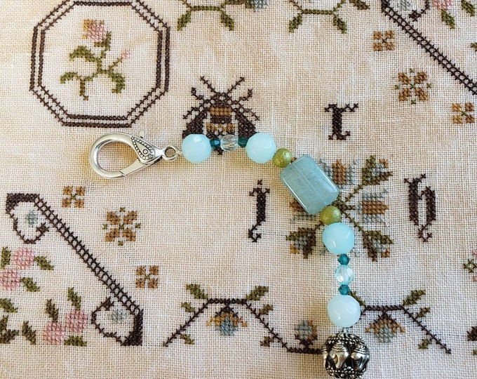 Scissor Fob - Cross Stitch Embroidery - Sea Shell charm