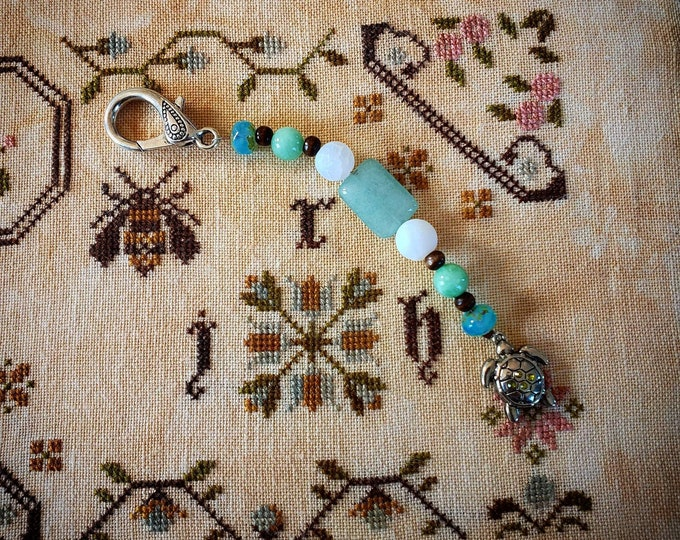 Scissor Fob - Cross Stitch Embroidery - Sea Turtle Acrylic and glass bead Scissors fob