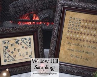 America Combo 2 Cross Stitch Patterns My Country Tis of Thee and Little American Sampler