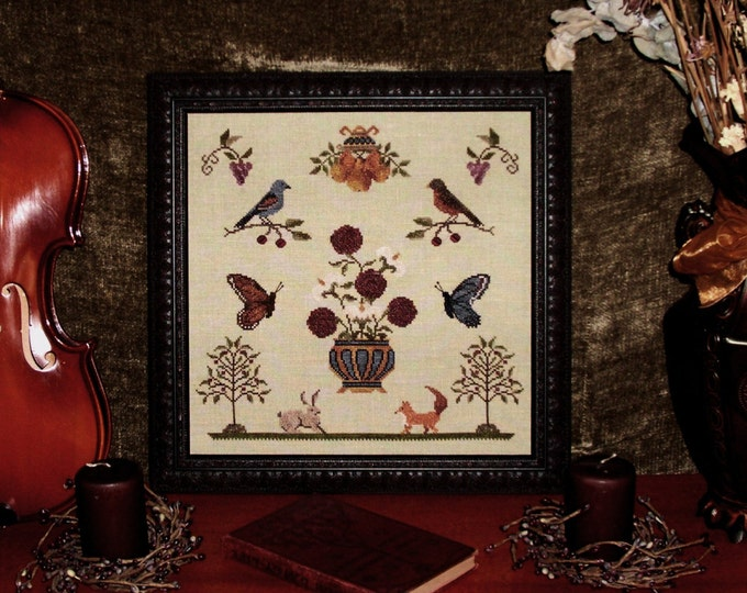 Flora Fauna - Antique Cross Stitch Pattern - PDF Digital Download