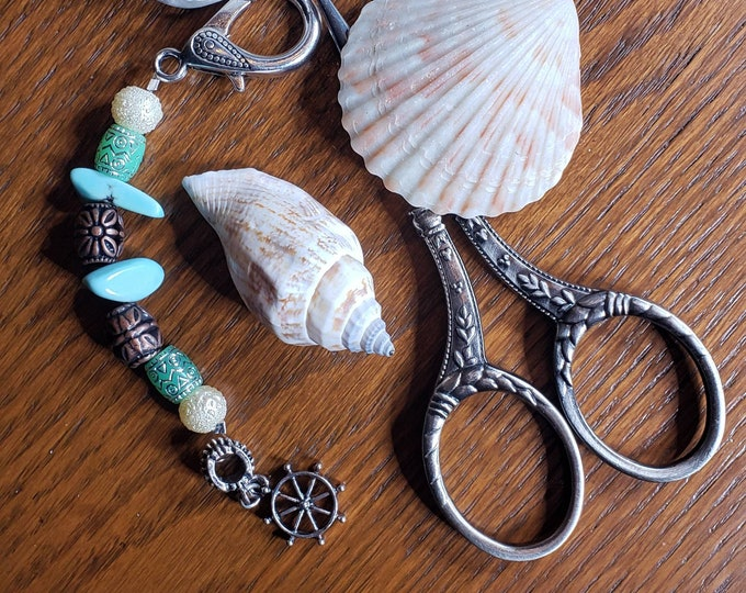 Scissor Fob - Cross Stitch Embroidery - Beach themed with boat wheel charm