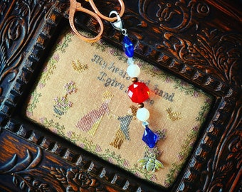Scissor Fob - Limited 4th of July Scissor Fob - Bee Charm Acrylic and glass beads