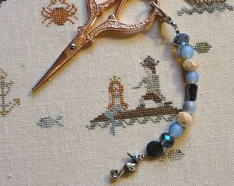 Scissor Fob - Cross Stitch Embroidery - Purple gems