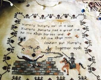Nursery Rhymes - Humpty Dumpty Cross Stitch Pattern - Hard Copy
